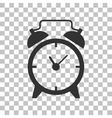 Alarm clock sign Dark gray icon on transparent vector image vector image