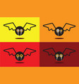 bat flat design halloween icon set vector image