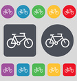 bike icon sign A set of 12 colored buttons Flat vector image vector image