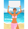 bikini girl with sign vector image vector image