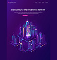 biotechnology biotech industry isometric banner vector image vector image