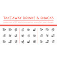 black takeaway drinks and snacks set vector image vector image