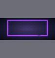 brick wall lit neon lamp violet color neon vector image vector image