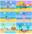 business people on summer vacation posters set vector image vector image