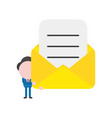 businessman character holding open mail envelope vector image vector image