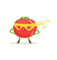 Cartoon character of superhero tomato with arms vector image