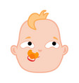 cartoon newborn infant baby pensive face vector image vector image