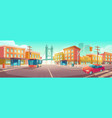 city crossroad with bus and car on intersection vector image