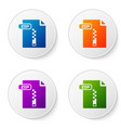 color zip file document download zip button icon vector image vector image
