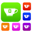 cup with teabag set collection vector image vector image