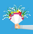 cute bouquet flowers in hand vector image