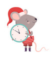 cute mouse holding wall clock cute small rodent vector image vector image