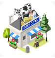 Dairy Products Shop City Building 3D Isometric vector image vector image