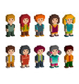 different pixel 8-bit isometric characters vector image vector image