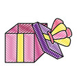 doodle open present box with crown style vector image vector image