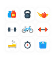 fitness gym icons set in flat style vector image vector image