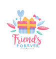 friends forever logo design colorful template for vector image vector image