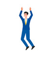 happy businessman jumping in air - male cartoon vector image vector image