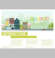 Hello spring cityscape background 7 vector image vector image