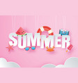 hello summer with decoration origami hanging on vector image vector image