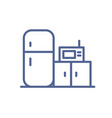 home kitchen icon with microwave fridge vector image vector image