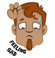 human emoji feeling sad on white background vector image
