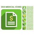 Invoice Page Icon and Medical Longshadow Icon Set vector image vector image