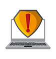 laptop open with attention sign vector image
