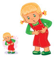 little girl clings to her stomach vector image vector image