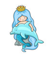 little princess mermaid sitting on a rock with vector image vector image