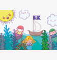 mermaid women with seaweed plants and ship vector image vector image