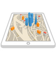 Modern gadget with abstract city map vector image vector image