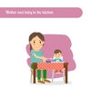 mother and bain kitchen vector image