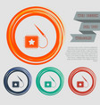 patch icon on red blue green orange buttons vector image vector image