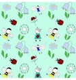 pattern with children flowers and beetles vector image