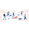 people walking with dogs owners and pets at park vector image