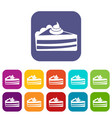 piece of cake icons set vector image