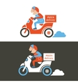 Pizza delivery guy on a scooter Isolated vector image