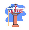 politician making speech from tribune with usa vector image vector image