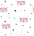 seamless pattern with pink cats and dots vector image vector image
