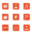 service payment icons set grunge style vector image