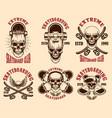 set skateboarding club emblems with skulls vector image vector image