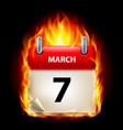 seventh march in calendar burning icon on black vector image vector image