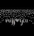 silver textured inscription miss you vector image vector image
