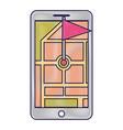 smartphone gps navigation pointer flag app vector image vector image