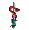 snake with sword old school tattoo style vector image vector image