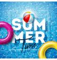 summer time with float and beach ball vector image vector image
