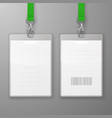 two realistic blank office graphic id cards vector image