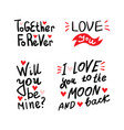 valentine lettering love collection vector image vector image