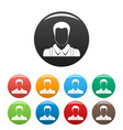 worker avatar icons set color vector image vector image